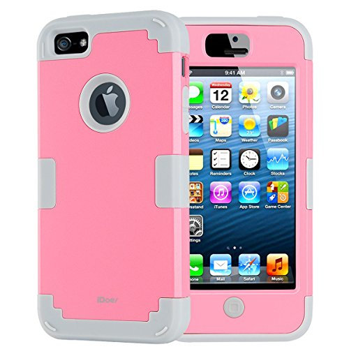 Price comparison product image iDoer iPhone 5c Case, Premiun Hybrid Rugged Triple Layer Dropkproof Combo Series Case for Apple iPhone 5C Pink Grey