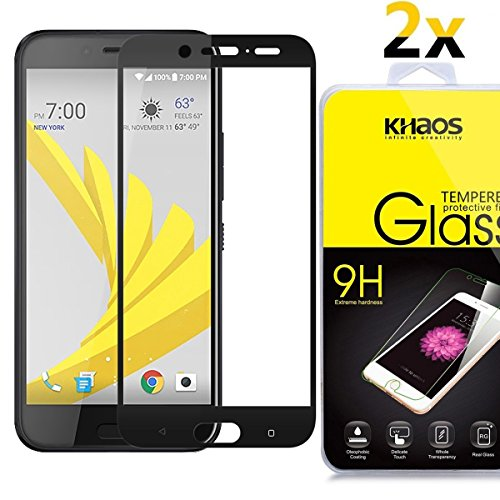 ([2-Pack] Khaos for HTC 10 Evo [Full Coverage ] HD Clear Tempered Glass Screen Protector with Lifetime Replacement Warranty -Black)