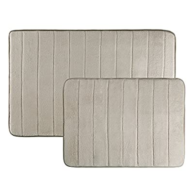 Memory Foam Bath Mats, Non Slip and Fast Dry 2 Piece Bathroom Mat Set- Absorbent Hydro Grip Designed Bath Rug By Bedford Home (Taupe) - PATENT PENDING HYDRO-GRIP DESIGN- Enhanced with a patent pending Hydro-Grip design, these mats combine non-skid and absorbent fast drying materials for the ultimate bathroom experience. This specially designed mat is ideal for use in any bathroom! NONSLIP AND FAST DRY- The Hydro-Grip nonslip panels hold the rug firmly in place, while the fast dry portion helps reduce moisture and allows water to air out quickly. This ideal combo leaves the mat feeling both clean and dry! MAXIMUM COMFORT- The memory foam in the mat gently contours to your feet to deliver a spa-like experience when you step out of the shower or bath. The memory foam core and soft microfiber top layer provide cushion and comfort from the bathroom floor. - bathroom-linens, bathroom, bath-mats - 51vv18BrdJL. SS400  -