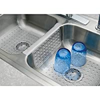 GSG Home Series Mat Protector Double Sink Divider Clear Kitchen Dish Safe Durable Grips Saddle