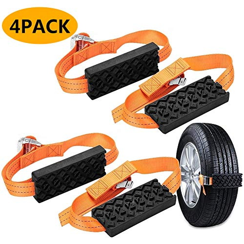 Car Tire Anti-Skid Block, Cable Snow Tire Chain Reusable Car Anti Slip Tire Traction Easy Installation/Removal for Car Truck SUV Emergency Winter Driving (4 PCS)