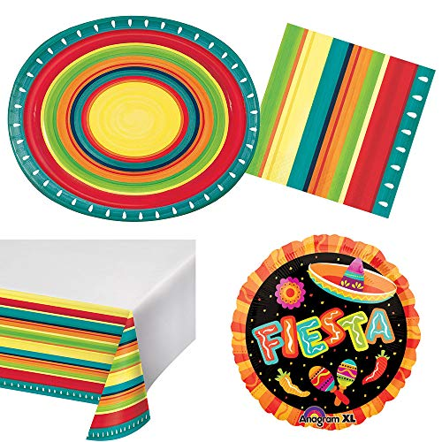 RDC Summer Stoneware Fiesta Party Supplies for 8 Guests, Wide Rim Banquet Size Plates, Napkins, tablecover, Balloon]()