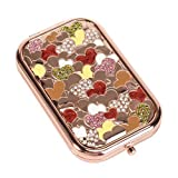 Nerien Women's Magnifying Foldable Cute Princess Style Hearts Vanity Mirror Cosmetic Purse Mirror Portable Travel Mirror Rose Gold