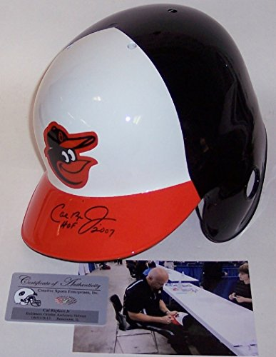 Cal Ripken Jr Autographed Hand Signed Baltimore Orioles Left Ear Flap Full Size Authentic Baseball Batting Helmet - with Hall of Fame 2007 Inscription - PSA/DNA