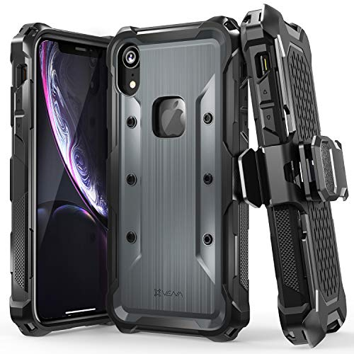 Black Swivel Holster Case - Vena iPhone XR Holster Case, [vArmor] Rugged Military Grade Heavy Duty Case with Belt Clip Swivel Holster & Kickstand, Compatible with iPhone XR - Black/Space Gray
