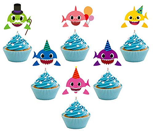 Price comparison product image 24PCS Cute Shark Cupcake Toppers For Kids Birthday Party,  Baby Shower Cake Decorations