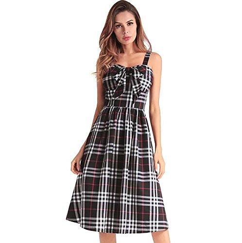 7ce4a1f78f Onfly Women Sweet Lattice Bowknot Suspenders Dress Retro Tube Top Swing  Midi Skirts Fold High Waist Zipper A Line Skirt OL Dress Party Dre Eu Size S -XXL  ...