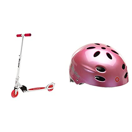 Razor A3 Kick Scooter, Red, Frustration Free Packaging w/ Pink Helmet