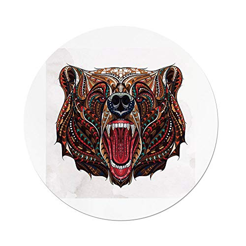 Polyester Round Tablecloth,Bear,Patterned Head of Wild Predator Growling African Eastern Motifs Ethnic Ornaments Decorative,Brown Red Blue,Dining Room Kitchen Picnic Table Cloth Cover,for Outdoor Ind by iPrint