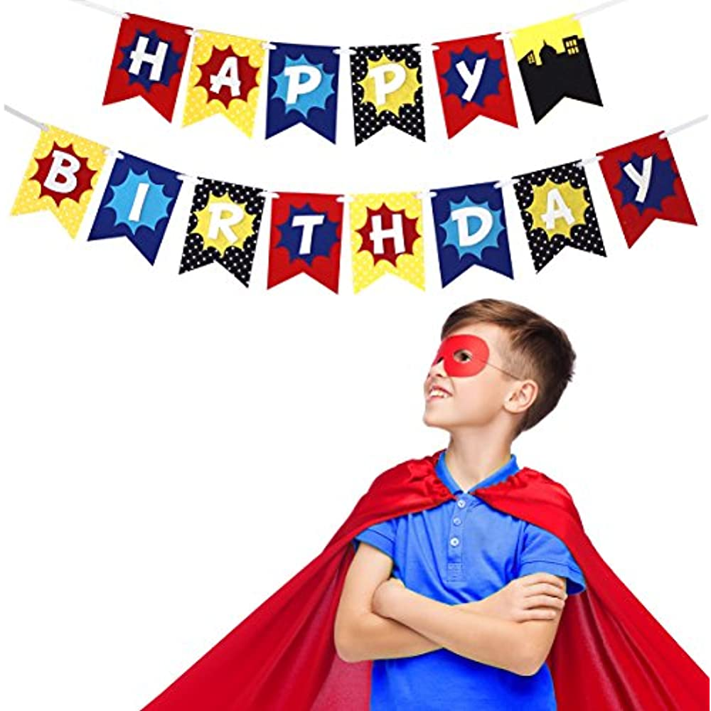 Super Hero - Premium Layered Felt Happy Birthday Banner ...