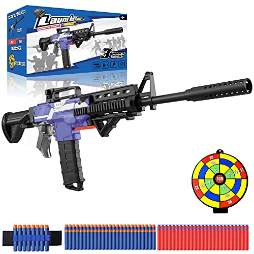 Toy Gun for Nerf Guns Bullets, DIY M416 Blaster w/ 12 Clip Magazine, 100 Foam Darts & 3 Shooting Modes, USB Rechargeable, Garden Outdoor Toys for Kids, Birthday Gift for Boys Girls Teens Adults