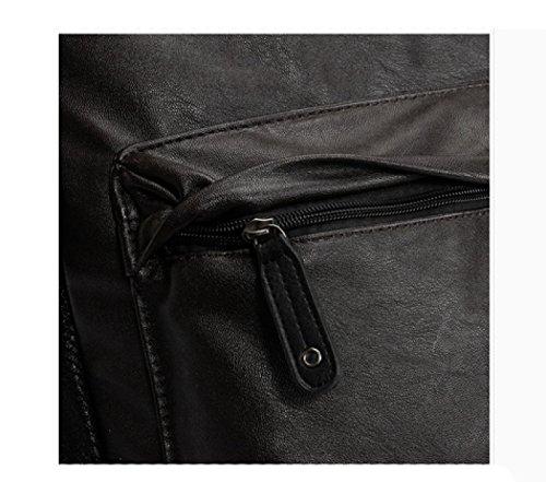 LAIDAYE Equipo Mochila Moda Casual PU De Los Hombres Bolsa De Viaje Mochila Bolsa De Hombro Black