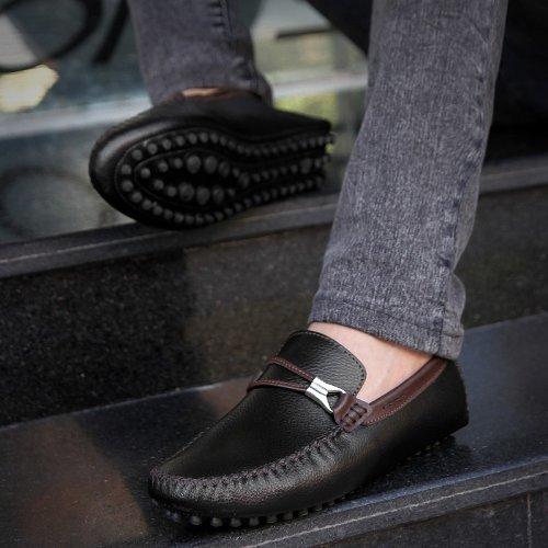 Abby 591 Herenmode Comfortabele Loafers Casual Krachtige Slip-on Mocassins Rijden Sneaker Zwart