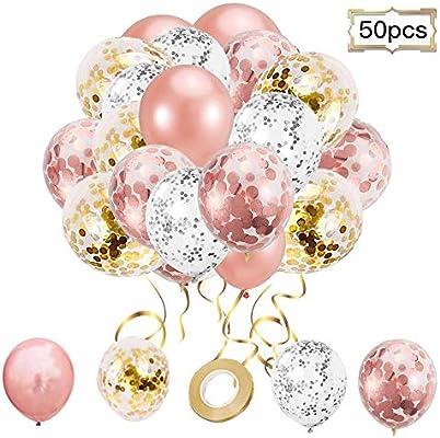 bodas 1 cinta para cumplea/ños globos de oro rosa baby shower Juego de globos de helio de l/átex con confeti de oro rosa 12 globo transparente con confeti dorado 40 unidades