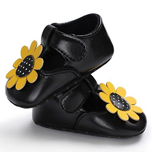 Princesa Blanda La 18 Meses Por Antideslizantes Zapatos Caminar 0 Cuero Negro Bebé Flor Primeros Para De Suela Niña Auxma Princesa 7qOvx