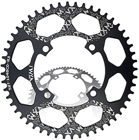 自転車のチェーンリング、 ロードバイクMTB用BCD 96MMチェーンリングMTBバイクナローワイドラウンドオーバルシングルチェーンリングナローワイドチェーンリングギア (Size : Round 46T)
