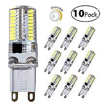 DiCUNO G9 Dimmable LED Bulb, 35 Watt Equivalent(4 Watt) Daylight White 6000K,120V Corn Bulb, 10-Pack
