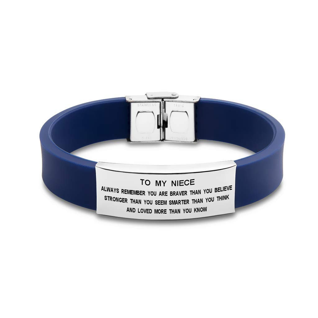 Freedom Love Gift to My Niece Always Remenber You are Braver Girls Inspirational Bracelet from Aunt Uncle (Blue) by Freedom Love Gift (Image #2)