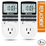 Light Timer, UKOKE Timer Outlet, Appliance Timer with Outlet, 7 Day Weekly Programmable Outlet with Timer, Wall Timer Light Switch, Digital Light Timer, Plug-in Timer for Electrical Outle (2 Pack)