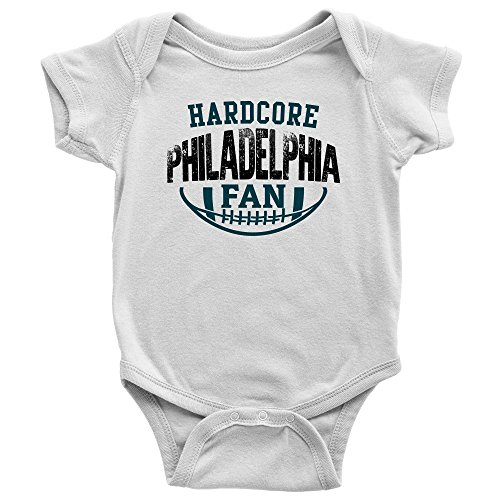 Price comparison product image PassionLoft Hardcore Philadelphia Football Fan Baby Bodysuit Infant Romper Jumpsuit Creeper One Piece Shirt Outfit