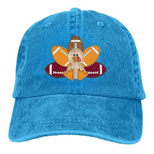 LinjHat-8 Turkey Pilgrim and Football Men/Women Washed Adjustable Baseball Cap Denim Back Closure Trucker Hat