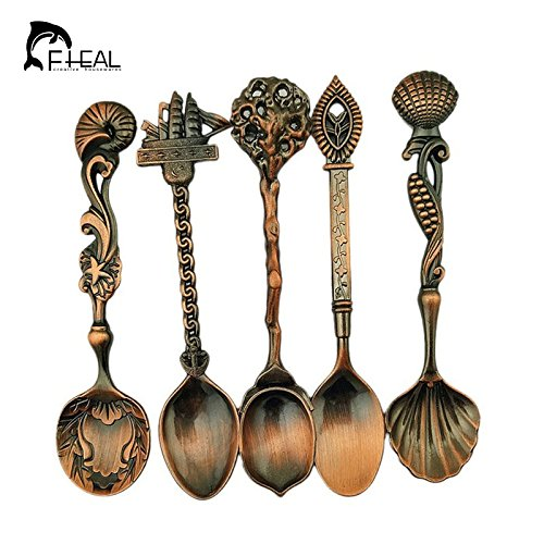 5pcs/set Vintage Royal Style Bunn Coffee Maker Deliming Tool Bronze Carved Small Coffee Tools Tech Tools Coffee Mug Tableware Cutlery Kitchen Dining Bar Tools Coffee Art Tools (Rose Gold) by Generic