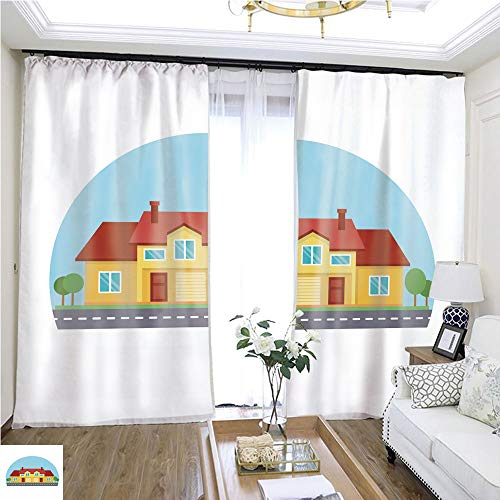 (Curtain lace Colorful Cute Cottage Country House Exterior with Road in Front of it Under Blue Sky W96 x L264 Reduce Noise Highprecision Curtains for bedrooms Living Rooms Kitchens etc.)