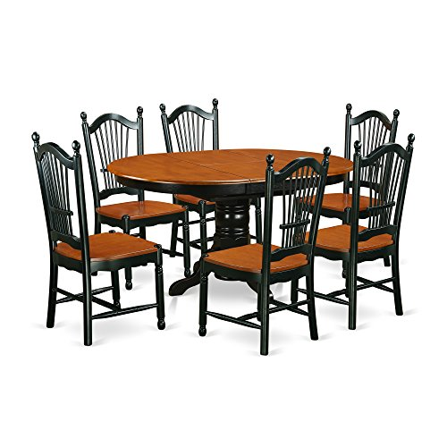 - East West Furniture KEDO7-BCH-W Dining Set, 7 Pieces, Black/Cherry