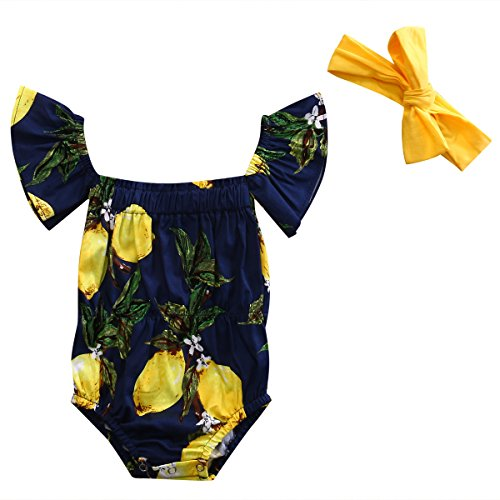 Off Shoulder Pear Print Romper + Headband for Baby Girls - With Baby Beach