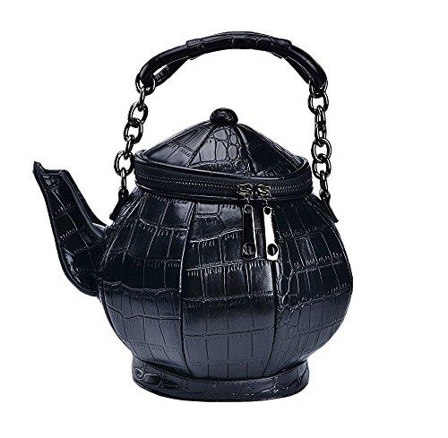 Nite closet Gothic Purse for Women Teapot Handbag Alice Shoulder Bag Crossbody (Black)]()