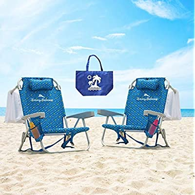 2 Tommy Bahama Backpack Beach Chairs / Blue : Sports & Outdoors