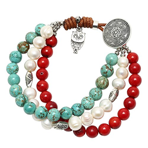PearlyPearl Freshwater Cultured Pearl Bracelet Turquoise Coral on Leather Cord with Owl Charm Handmade Jewelry