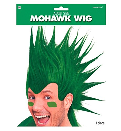 Amscan Party Ready Team Spirit Mohawk Wig (1 Piece), Green, 11 x - Wig 11