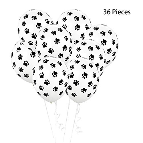 Hapy Shop 36 Pieces Dog Paw Print Balloons 12
