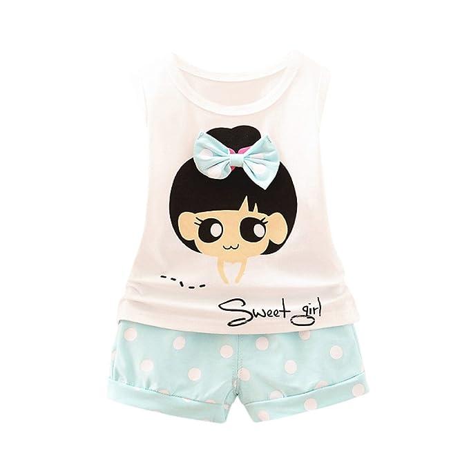 Conjuntos de Ropa para Bebé Niñas❤️️Lonshell Camisetas sin Mangas Letra Camisetas con Bowknot +