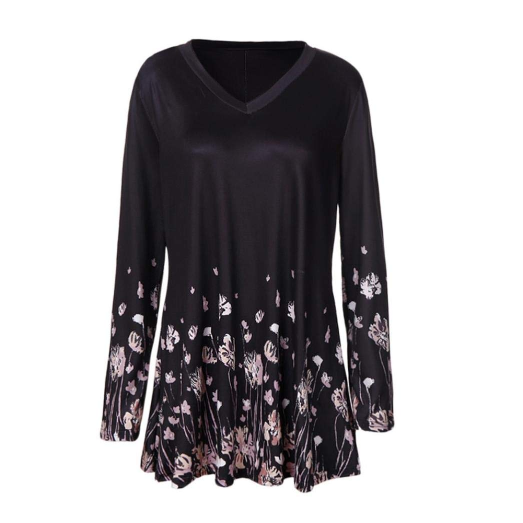 ManxiVoo Women's Floral Print Tunic Blouse O Neck Long Sleeve Tops T Shirt (XX-Large, Black)
