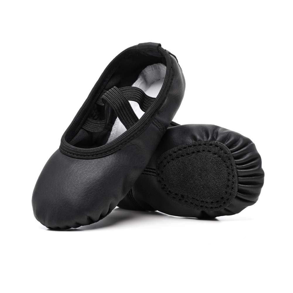 STELLE Girls Ballet Practice Shoes, Yoga Shoes for Dancing(Black, 6M Toddler)