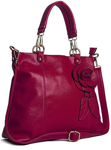 Big Handbag Sac à main pour femme tendance Fleur et feuilles Taille M - Rouge - rouge, One