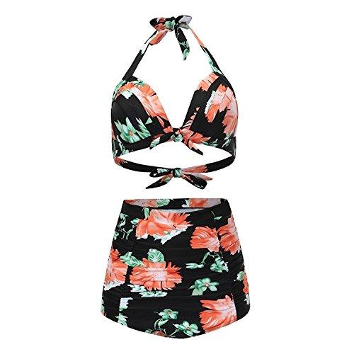 Ahlsengg Women's Floral Pattern Halter High Waist Vintage Bikini Swimwear As pictureXXX-Large