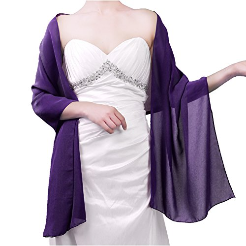 Sheer Soft Chiffon Bridal Women's Shawl For Special Occasions Purple 79