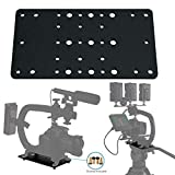 """Cam Caddie Scorpion EX Photo Video Cheese Plate / Tripod Mount with (21) ¼""""-20 and (9) 3/8''-16 Threaded Holes – Heavy Duty Aluminum Anodized Flat Black"""