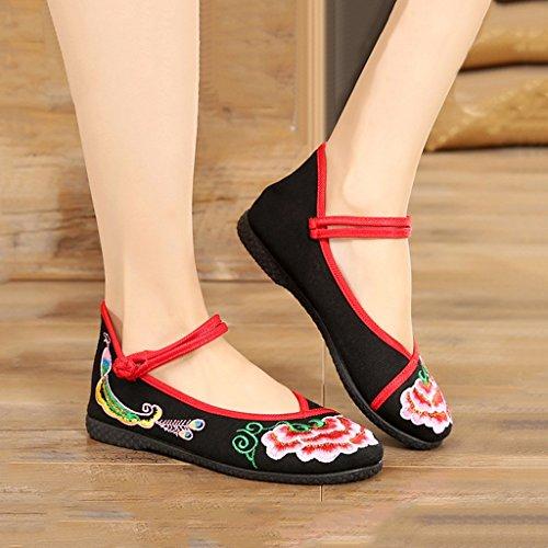 sogno ricamate donna da dimensioni in di eleganti in 36 balletto cinese Scarpe Black tessuto stile Black Scarpe Colore Scarpe vintage Chaser da piatte traspirante SqI5Ywx