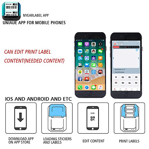 NYEAR computers thermal small two-dimensional code stickers bar code label printer dual-use machine only for windows(12 Android +100 Apple) +2 free labels (USB) by NYEAR (Image #3)