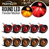 "Partsam 10Pcs 3/4"" Inch Surface Mount (5 pcs Amber + 5 pcs Red) LED Clearance Markers Bullet Marker lights, side marker lights, led marker lights, led trailer marker lights"