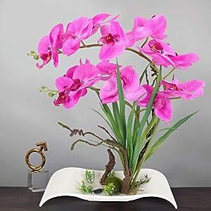 YOBANSA Big Size Orchid Bonsai Artificial Flowers with Imitation Porcelain Flower Pots Phalaenopsis Fake Flowers Arrangements for Home Decoration (Rose Red) 13