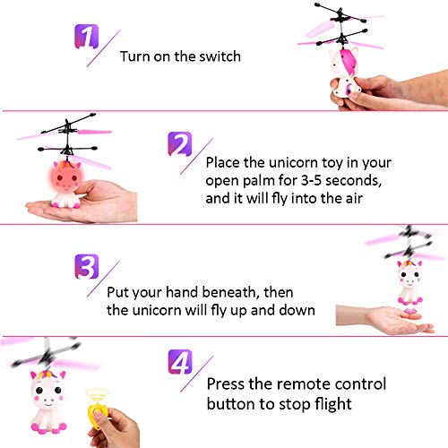 Unicorn Flying Ball RC Toy for Kid Girls,Inductive Flying Toys Drone Helicopter with Remote & Hand Controlled Rechargeable Flash Light Indoor Outdoor Light Up Toy Party Favors Supplies Gift for 3+ Boy by Randosk (Image #1)