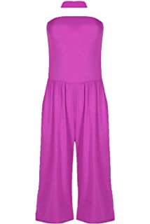 Womens Ladies 3//4 Length Peplum Ruffle Frill Wide Leg Palazzo Playsuit Jumpsuit