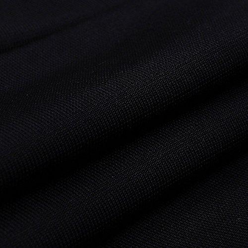 HLBandage Irregular Long Sleeve Women's Halter Neck Patchwork Backless Bodycon Rayon Bandage Dress Schwarz njvO5FY