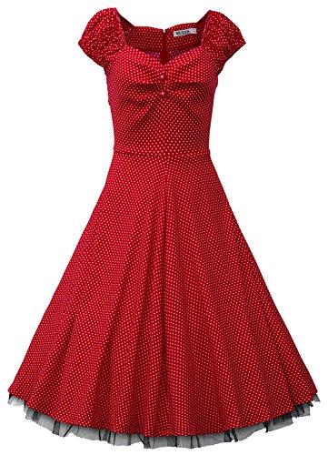 MUXXN® Women's 1950s Style Vintage Swing Party Dress (L, Red Dot)