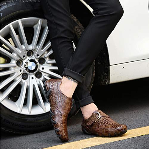 Náuticos A Antideslizante Calzado En Brown Mocasín Resbalón Los Zapatos Casual Zapatilla Caminar Para Informal De Mano Hombres Mocasines Costura xgqTg8Rnwf